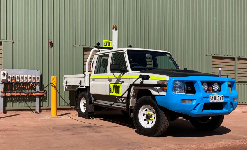 Australian Design Rules approved underground-ready ZED70 Ti battery electric light vehicle on 415V 22kW charger